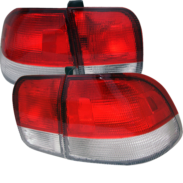 Honda Civic 1996-1998 4DR Red Clear Euro Style Tail Lights