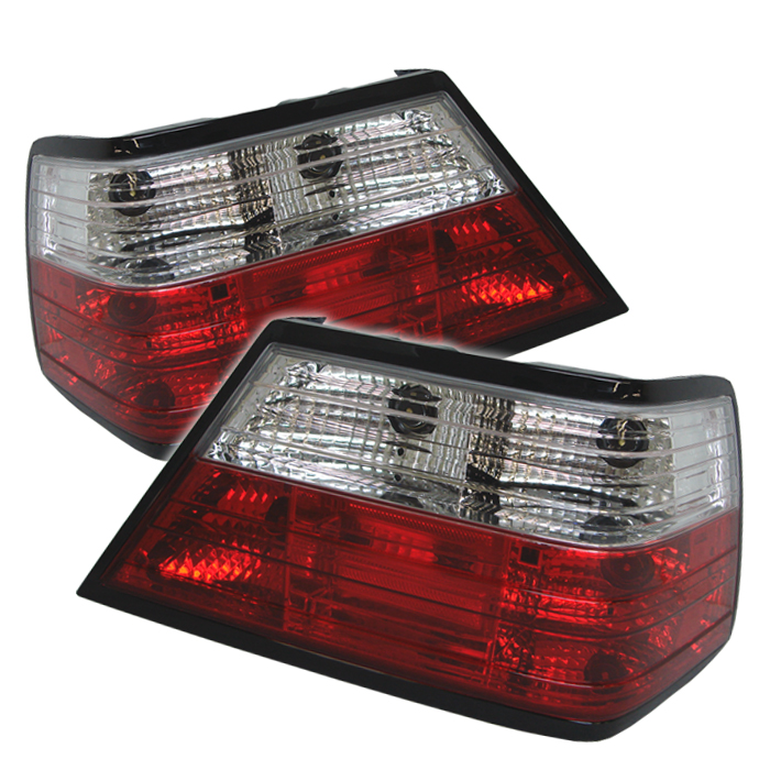 Mercedes Benz E Class 1986-1995  Red Clear Euro Style Tail Lights