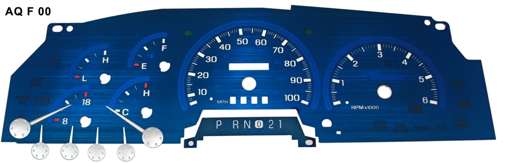 Ford F150 1997-1998  100 Mph, W/Tach Analog Aqua Edition Gauges With White Numbers
