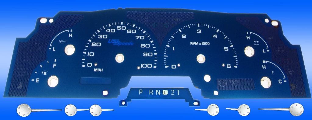 Ford F150 1999-2003  100 Mph, W/Tach Aqua Edition Gauges With White Numbers