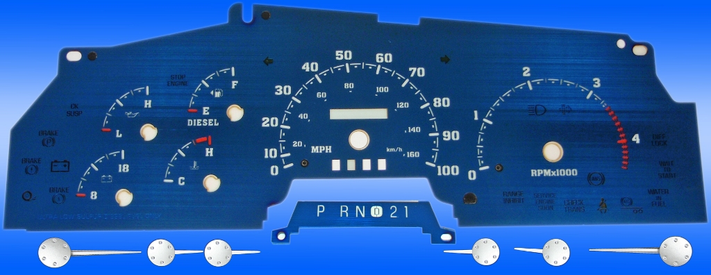 Ford Super Duty 1999-2002 F250, F350 100 Mph, Tach, Diesel Aqua Edition Gauges With White Numbers