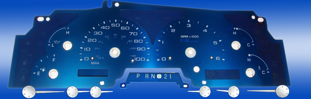 Ford Super Duty 2002-2004 F250, F350 100 Mph, Tach, Gas Aqua Edition Gauges With White Numbers