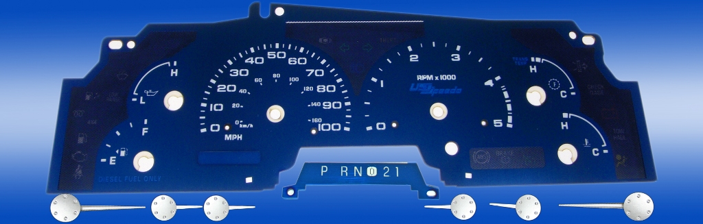 Ford Super Duty 2002-2004 F-250, F-350 Diesel Aqua Edition Gauges With White Numbers
