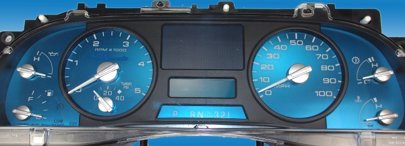 Ford Super Duty 2005-2007 F250, F350, Xlt, Fx4 100 Mph, Tach, Diesel Aqua Edition Gauges With White Numbers