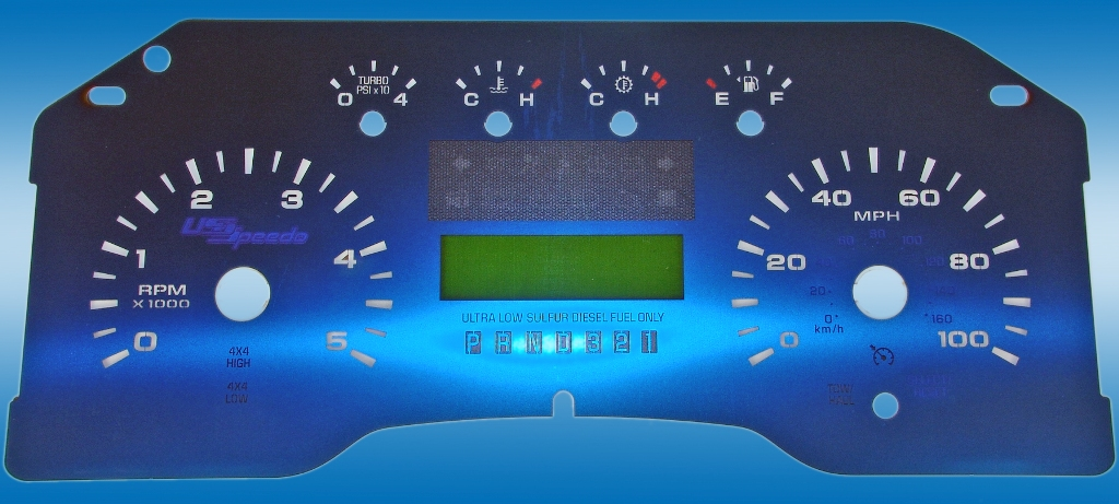 Ford Super Duty 2008-2009 F250, F350 Lariat, King Ranch 100 Mph, Diesel Auto No Trip Aqua Edition Gauges With White Numbers
