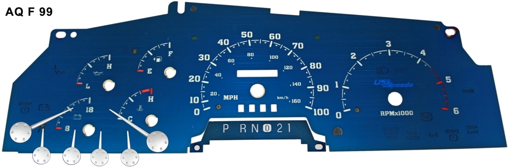 Ford Excursion 1999-2001  Gas, Tach Analog Mph Aqua Edition Gauges With White Numbers