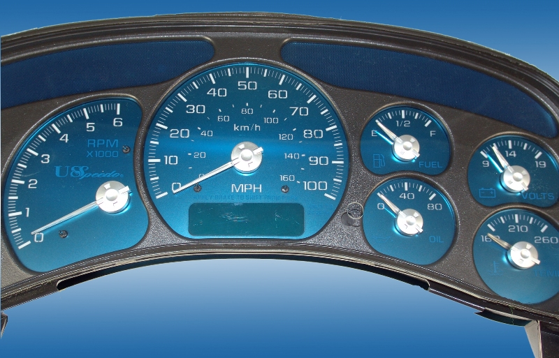Gmc Sierra 1999-2002 Hd 100 Mph Trans Temp Gas Aqua Edition Gauges With White Numbers