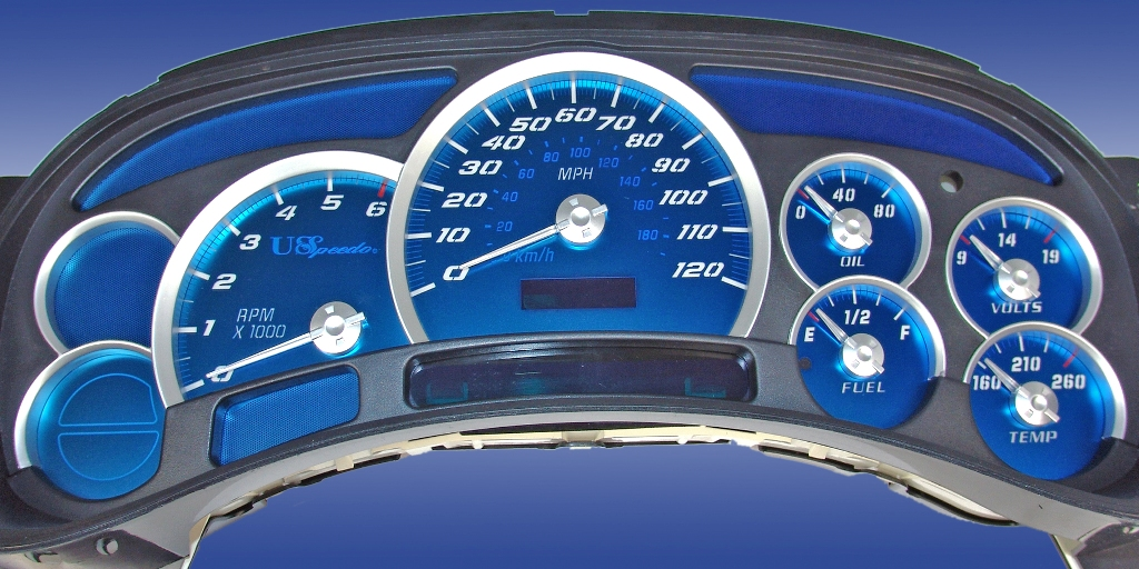 Chevrolet Silverado 2003-2005  120 Mph No Trans Aqua Edition Gauges With White Numbers