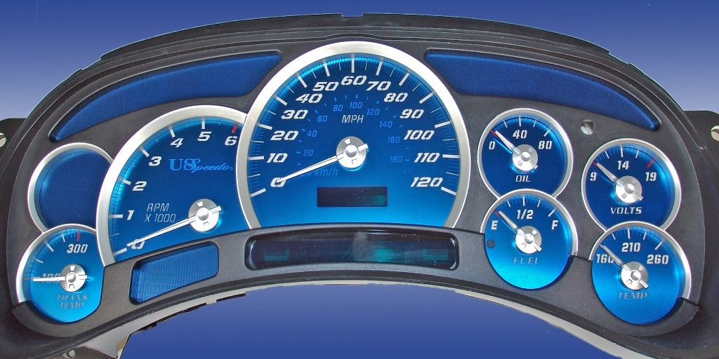 Chevrolet Tahoe 2003-2005  120 Mph Trans Temp Aqua Edition Gauges With White Numbers