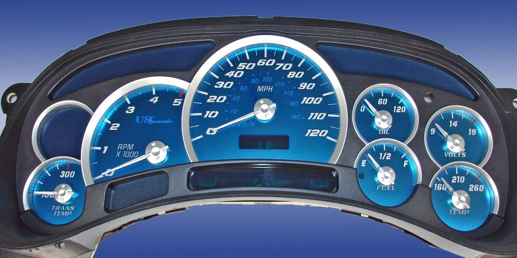 Chevrolet Silverado 2003-2005 Hd Diesel Aqua Edition Gauges With White Numbers