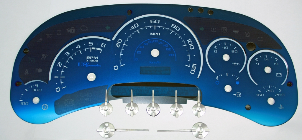 Chevrolet Silverado 2003-2005  120 Mph Trans Temp Aqua Edition Gauges With White Numbers