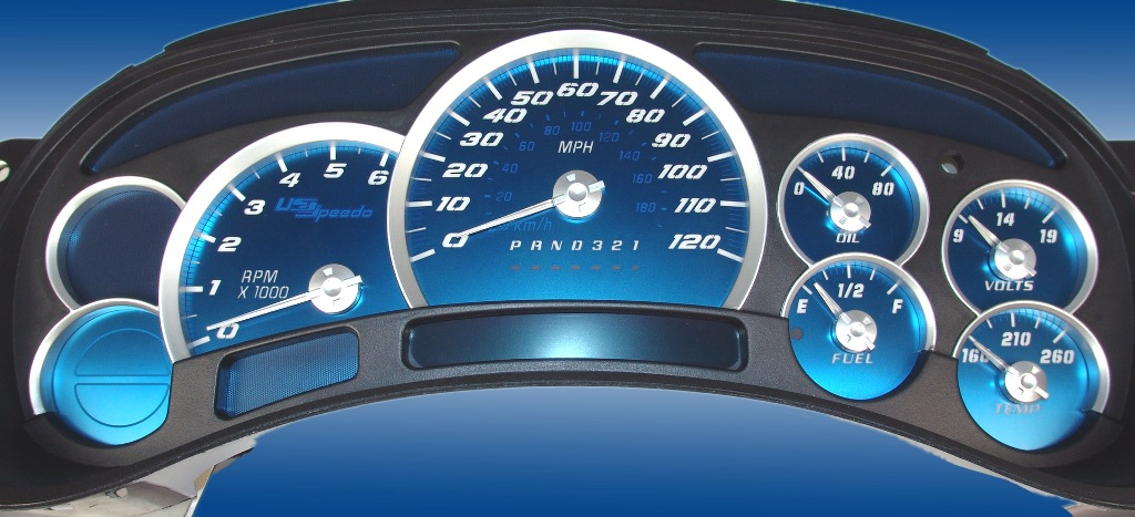 Chevrolet Silverado 2006-2007  120 Mph No Trans Aqua Edition Gauges With White Numbers