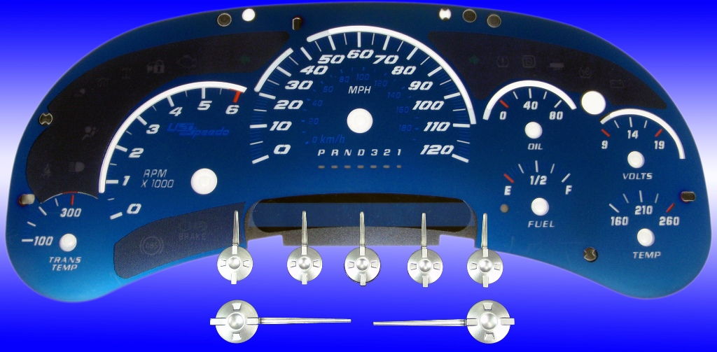 Chevrolet Silverado 2006-2007  120 Mph Trans Temp Aqua Edition Gauges With White Numbers
