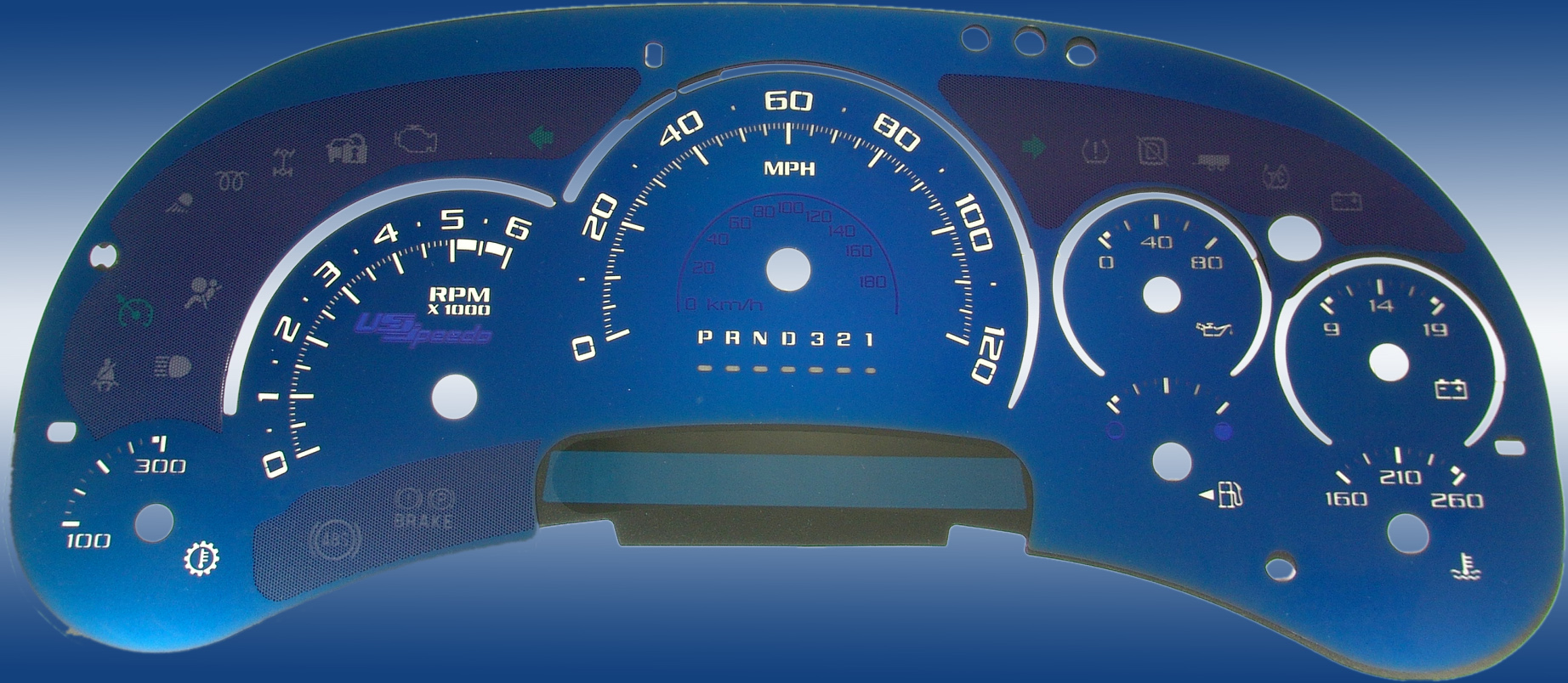Cadillac Escalade 2006-2007  120 Mph Trans Temp Aqua Edition Gauges With White Numbers