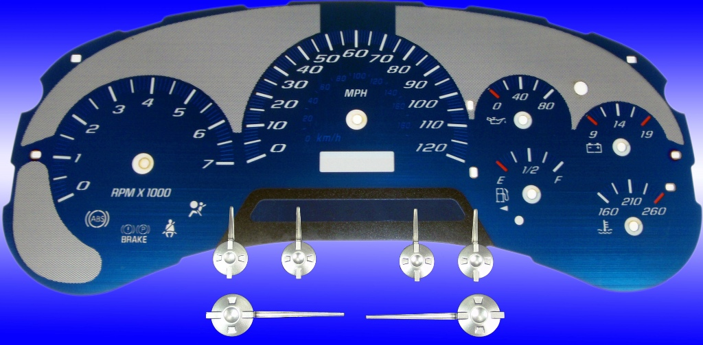 Chevrolet Trailblazer 2002-2005  120 Mph Aqua Edition Gauges With White Numbers