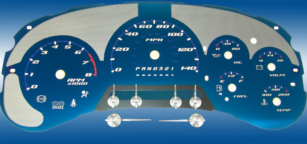 Chevrolet Trailblazer 2006-2009 Ss Only 140 Mph 8000 Tach Aqua Edition Gauges With White Numbers