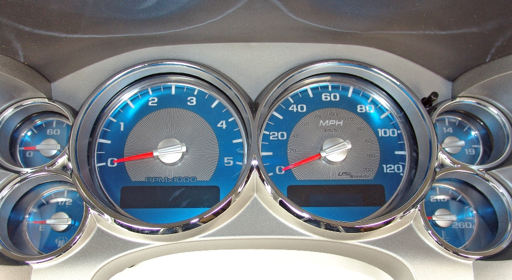 Gmc Sierra 2007-2009 Hd 120 Mph, Diesel Aqua Edition Gauges With White Numbers