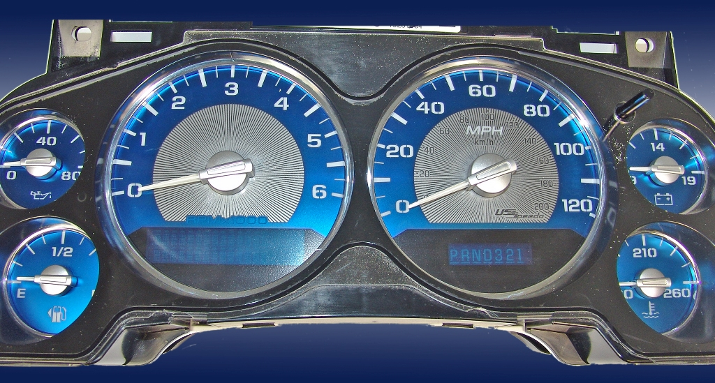 Chevrolet Silverado 2007-2009  Mph All Models Aqua Edition Gauges With White Numbers