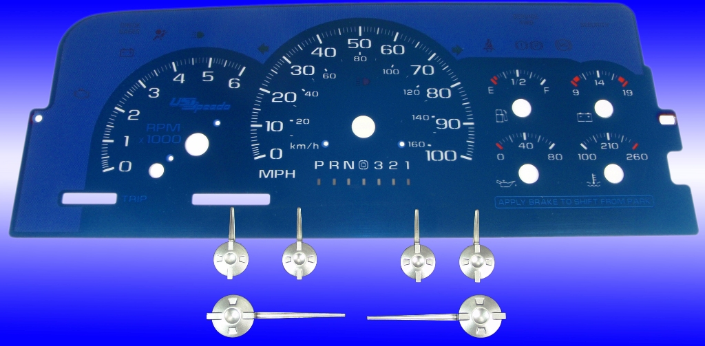 Chevrolet Tahoe 1995-1999  100 Mph, 6000 Rpm, Gas, Auto Aqua Edition Gauges With White Numbers