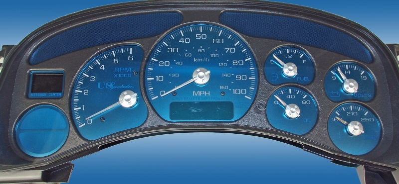 Chevrolet Silverado 1999-2002  100 Mph, No Trans Temp, Gas Aqua Edition Gauges With White Numbers