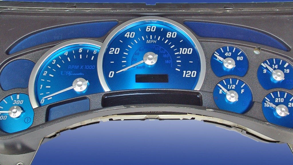 Hummer H2 2003-2005  Mph All Models Aqua Edition Gauges With White Numbers