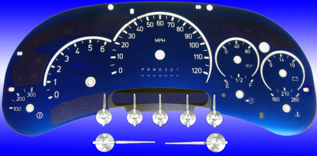 Hummer H2 2006-2007  Mph All Models Aqua Edition Gauges With White Numbers