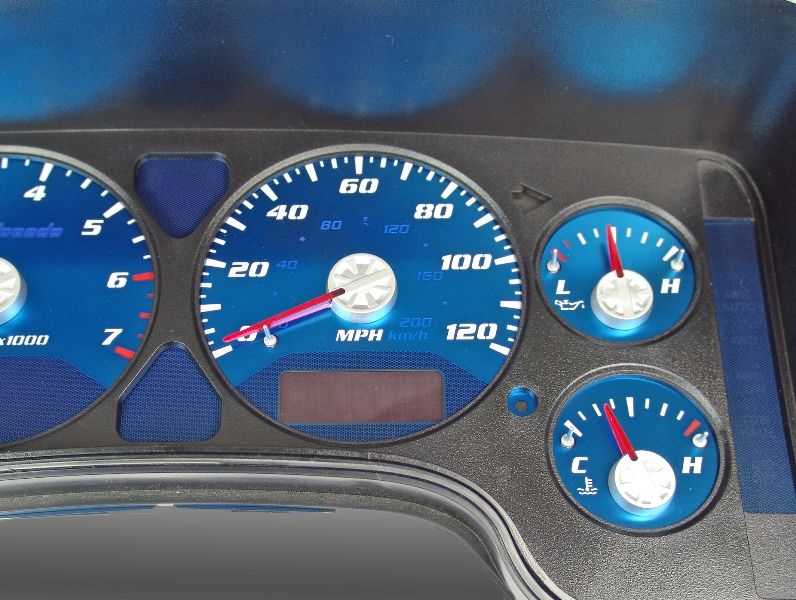 Dodge Ram 2002-2005 1500, 2500 120 Mph, 7000 Tach, Gas Aqua Edition Gauges With White Numbers