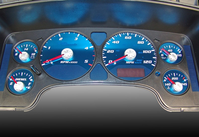 Dodge Ram 2006-2006 2500, 3500 120 Mph, 5000 Tach, Diesel Aqua Edition Gauges With White Numbers