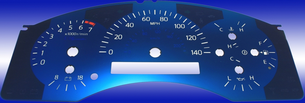 Nissan Titan 2004-2007  140 Mph, 7000 Tach, Auto Aqua Edition Gauges With White Numbers
