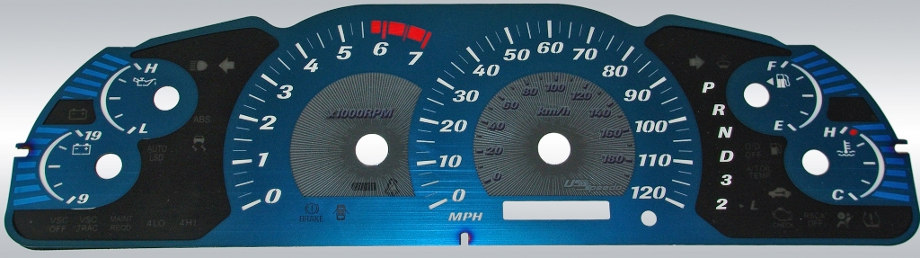 Toyota Tundra 2005-2006  Mph, 7000 Tach, Auto Aqua Edition Gauges With White Numbers