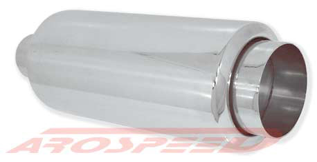 Arospeed Round Muffler w/ 4 in. Round Straight Cut Short Tip