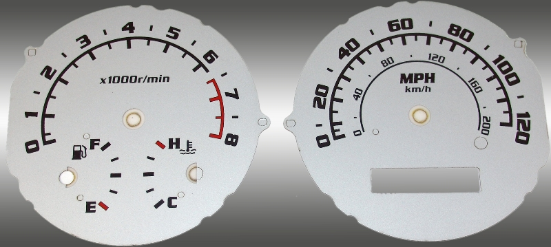 Chevrolet Aveo 2005-2009 With Tach Silver / Blue Night Performance Dash Gauges