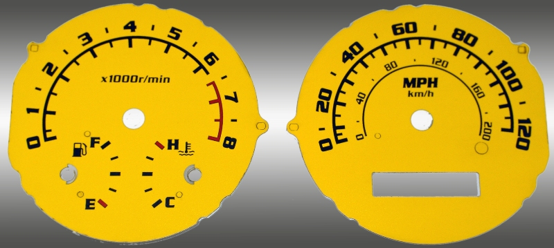 Chevrolet Aveo 2005-2009 With Tach Yellow / Blue Night Performance Dash Gauges