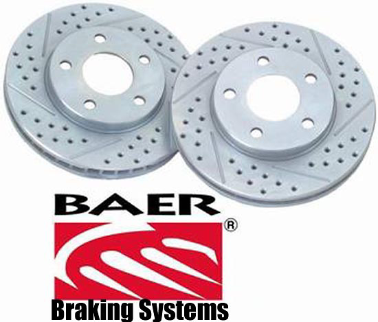 Ford F-250 Light Duty 95-99 Cross Drilled Baer Brake Rotors (Front Pair)