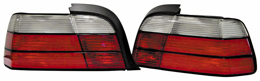 BMW 3 Series Coupe 92-99 Red and Clear Euro Tail Lights