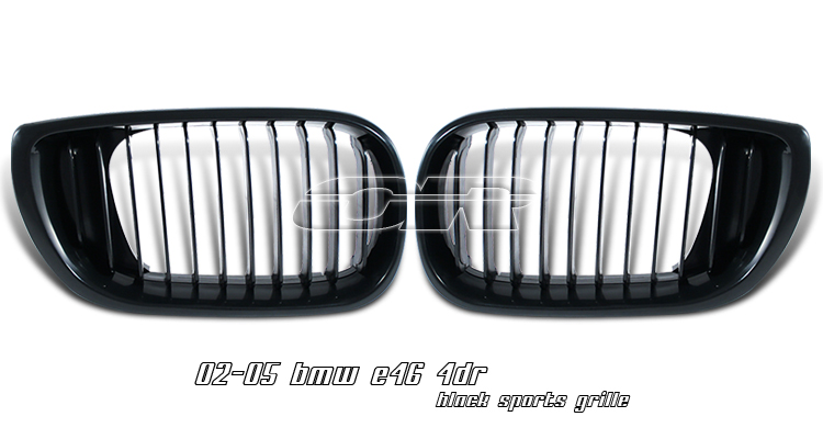 Bmw 3 Series 2002-2004 4dr Black Front Grill