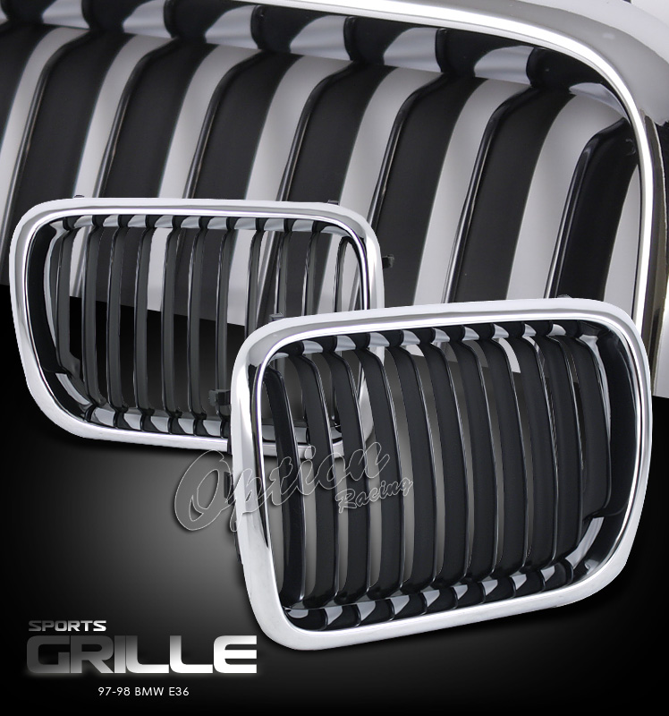 Bmw 3 Series 1997-1998  Chrome/ Black Front Grill
