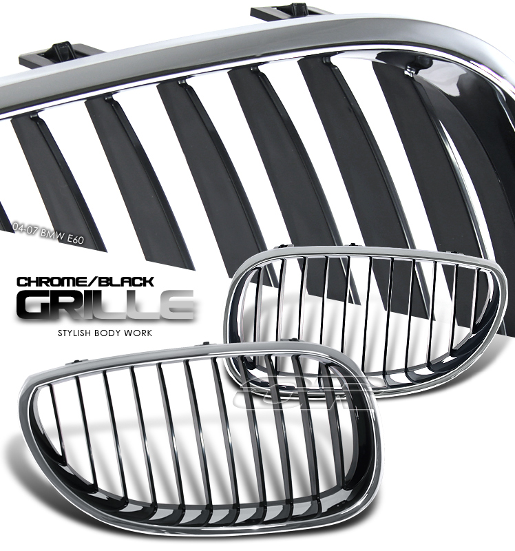 Bmw 5 Series 2004-2007  Chrome/Black Front Grill