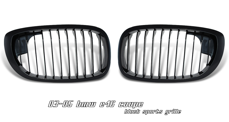 Bmw 3 Series 2003-2005 2dr Black Front Grill