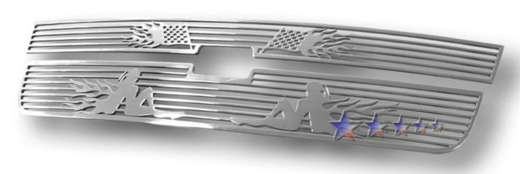 Chevrolet Silverado 3500 2005-2006 Polished Main Upper Symbolic Grille