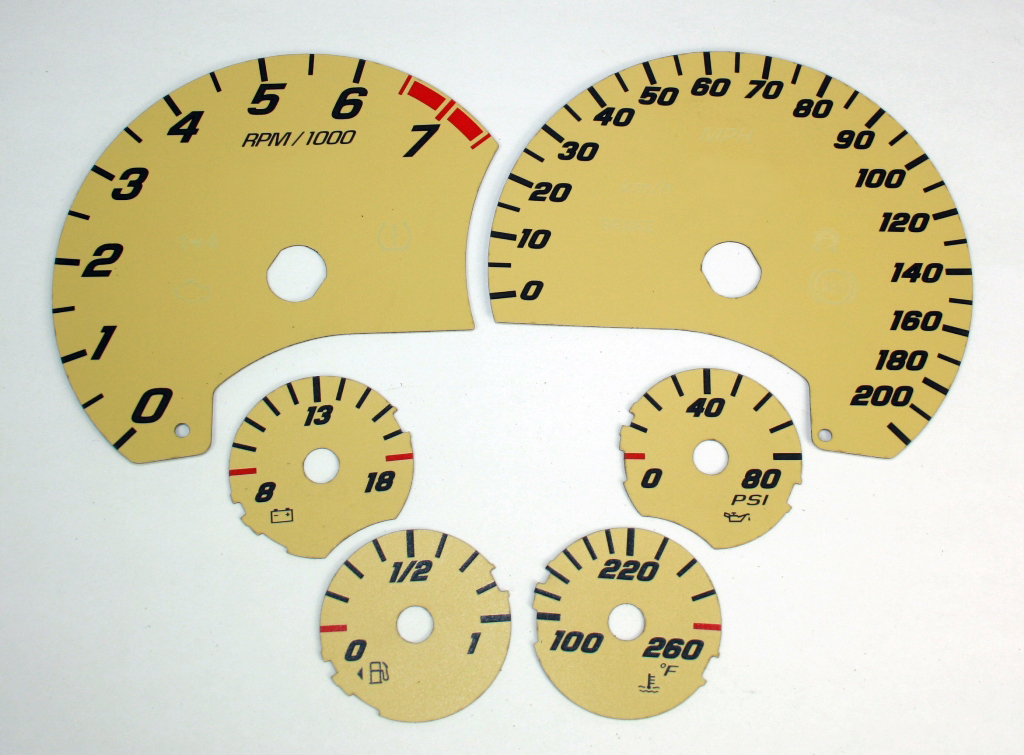 Chevrolet Corvette 2005-2009  Tan / White Night Performance Dash Gauges