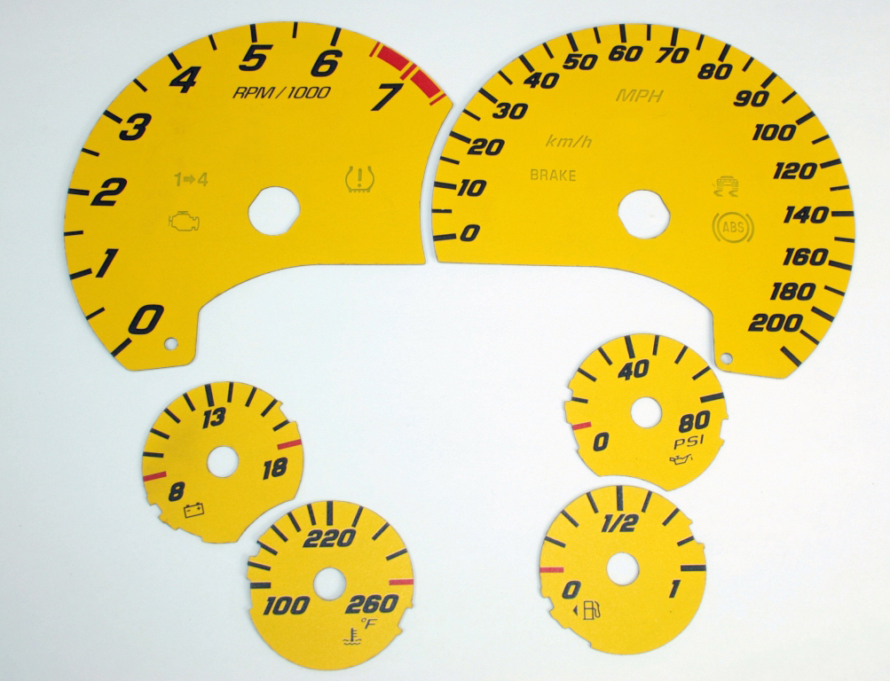 Chevrolet Corvette 2005-2009  Yellow / White Night Performance Dash Gauges