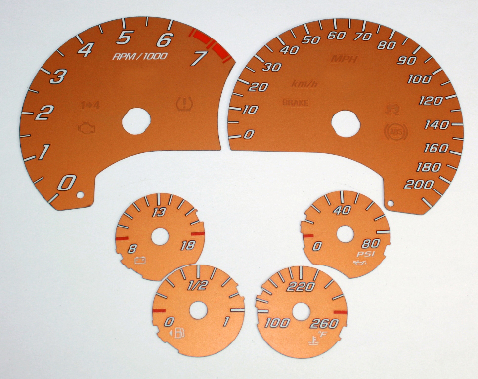 Chevrolet Corvette 2005-2009  Orange / White Night Performance Dash Gauges