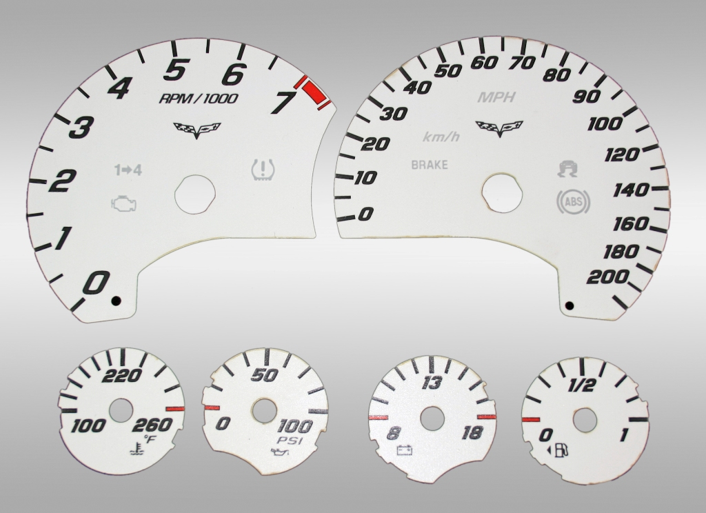 Chevrolet Corvette 2005-2009  White / White Night Performance Dash Gauges