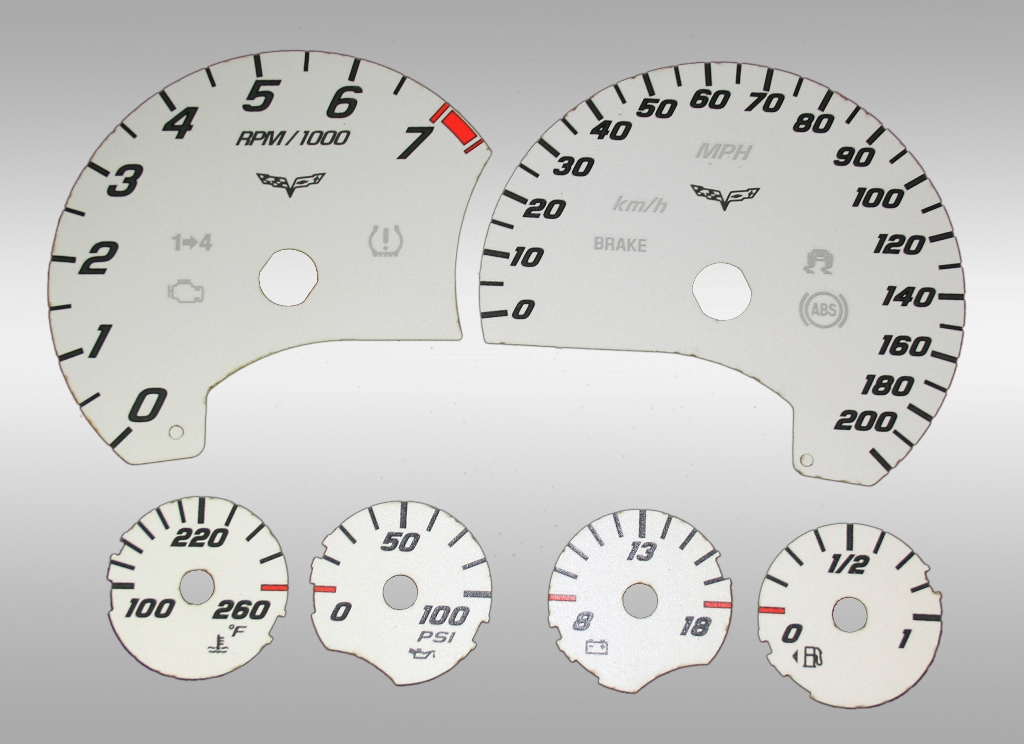 Chevrolet Corvette 2005-2009  Silver / White Night Performance Dash Gauges