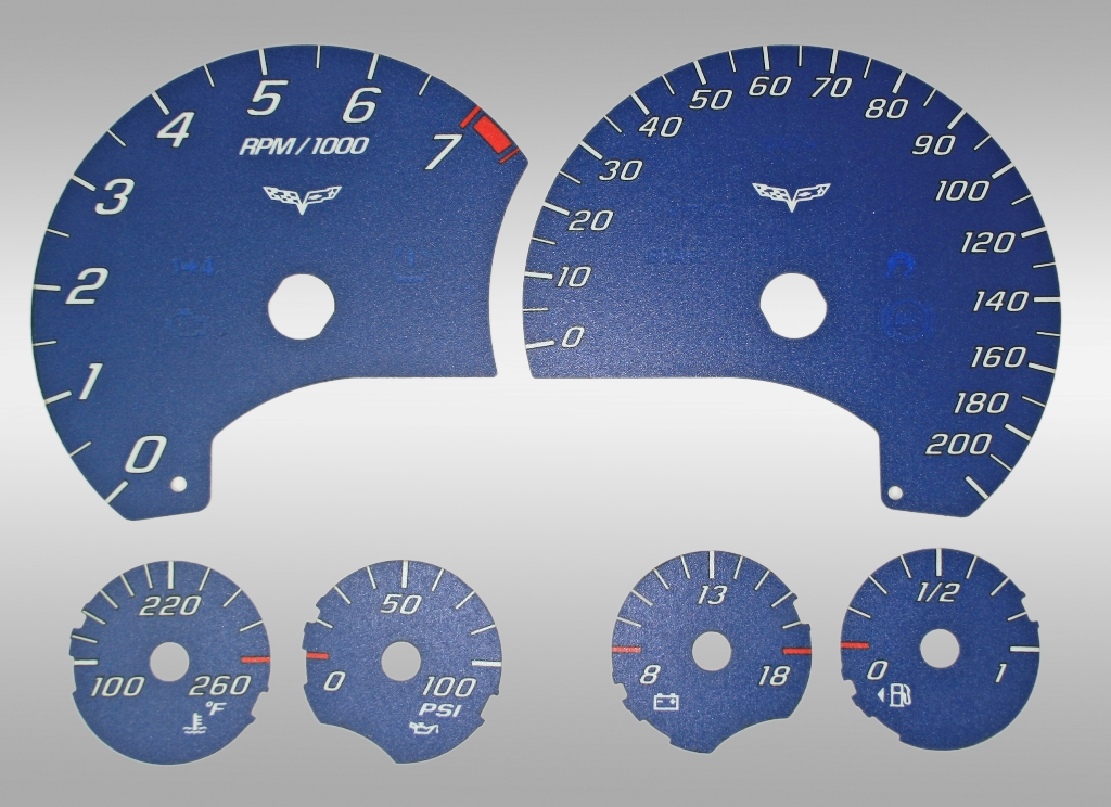 Chevrolet Corvette 2005-2009  Blue / White Night Performance Dash Gauges