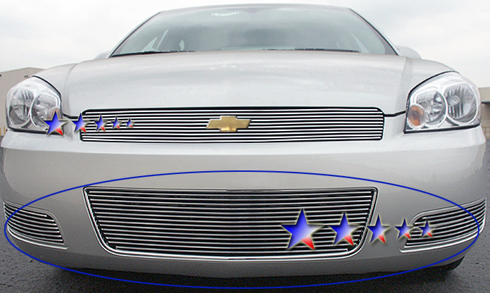 Chevrolet Impala Lt 2006-2012 Black Powder Coated Lower Bumper Black Aluminum Billet Grille