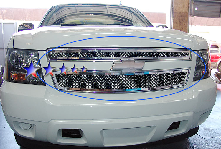 Chevrolet Suburban  2007-2012 Polished Main Upper Stainless Steel Billet Grille