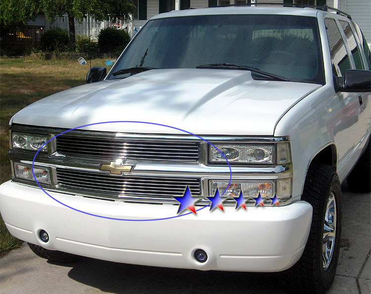 Chevrolet Suburban  1994-1999 Polished Main Upper Stainless Steel Billet Grille