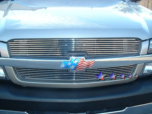Chevrolet Silverado 3500 2003-2004 Black Powder Coated Main Upper Black Aluminum Billet Grille